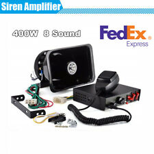 Car SUV MIC System 400W Siren Amplifier + Square Mouth Speaker 8 Warning Tones