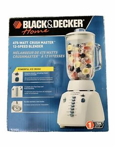 Black & Decker Crush Master Blender 12-SPEED 475 WATT Glass Jar - White BL12475G
