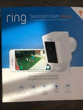 RING Spotlight Cam White Wired Wi-Fi Motion Detection Siren Two-Way Talk Camera