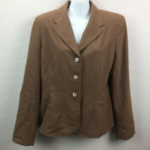 Amanda Smith Womens 12 Brown Suit Jacket Coat Padded Shoulders 3 Button