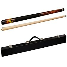 "2 Piece Wooden Billiard Cue Dragon Pool Stick 58"" 20 Oz with Case Indoor Sports"