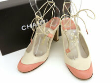 CHANEL Bicolor lace-up sandals leather light beige pink 37 9.4 ""
