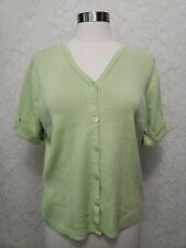 Talbots Woman's XL Short Sleeve Sweater  Light Green button front v- Neck Cotton