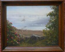 Harbor Roses, Belfast, Maine 14x18 framed original oil painting - Celene Farris