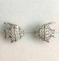 New Hand Set Cubic Zirconia 14k White Gold On Sterling Silver Fish earring