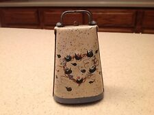 Vintage Metal Cow Animal Bell Working Condition Painted W/ Floral Flowers