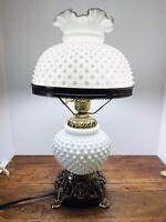 VINTAGE FENTON WHITE MILK GLASS HOBNAIL LAMP 3 WAY 19 INCH TALL