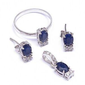 Blue Sapphire Zircon Ring Earrings Pendant Dainty Minimalist Jewelry Set Women