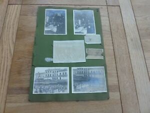 WW1 ORIGINAL ALBUM PAGE OF PHOTOS MONS BELGIUM PEACE PARADE 21/7/19 38 X 27cm