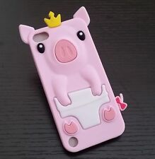 For iPod Touch 5th / 6th Gen -Soft Silicone Rubber Tpu Skin Case Cover Crown Pig