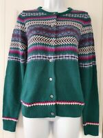 Womens Country Rose Green Fairisle 50s Vintage Landgirl Style Knitted Cardigan S