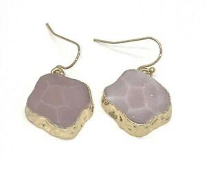 Macy's Inspired Life Goldtone Stone Drop Earrings, Pink, NWT