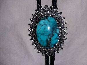 Vintage Turquoise(Gem Grade Kingman, Arizona 28mm x 20mm) Bolo Tie