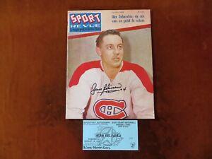 Vintage Jean Beliveau Signed Sport Revue Magazine October 1958 Hockey