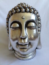 Large Buddha Head Antique Silver Colour Outdoor/Indoor Ornament