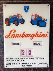 Original LAMBORGHINI Perpetual Calendar Dealer Sign 1960s Miura Tractor Espada