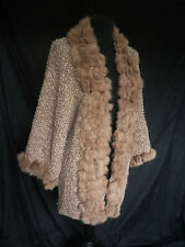 LOVELY ROMAN PINK BROWN BATWING PONCHO CARDIGAN WITH REAL FUR TRIM SIZE 16 SUPER