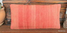 (30*60CM) Boho Style Vintage Handwoven kilim lumbar cover peachy coral colour