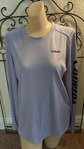 Cabela's LOGO Long Sleeve Shirt Womens Size M 4Most UPF 50 Lavender EUC