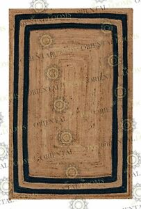 Double Border Navy Blue Jute Hand Made Rug, Decor Rug Customize in Any Size..