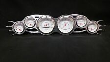 6 GAUGE STREET ROD FLAME STYLE DASH CLUSTER WHITE