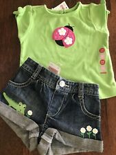 Gymboree Girl'sDaisy Jean Shorts and Matching Shirt Outfit * Sz 3-6 months  *NWT