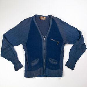 VTG 30's 40's TWO TONE WOOL SWEATER CARDIGAN TALON ZIPPER BLUE WORKWEAR USA S