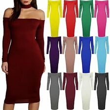 Womens Off The Shoulder Midi Dress Plus Size Bardot Long Sleeve Pencil Bodycon