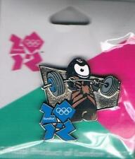 2012 London Wenlock Olympic Weight Lifting Games Mark Mascot Sports Pin