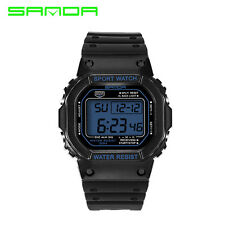 Sanda Men Women Couple Digital LCD Waterproof Sport Quartz Wrist Watch 329