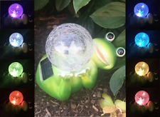 Solar Power Garden Decor Art Frog Glass Statue Outdoor Patio Path Lawn LED Light