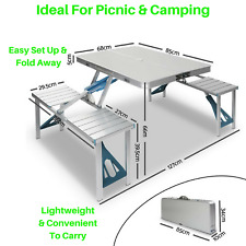 NEW Outdoor Portable Fold Table Chair 4 Seat Aluminium Camp BBQ Picnic Caravan