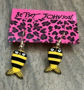 Betsy Johnson Yellow & Black Fish Dangling Pierced Hooked Earrings New Style!