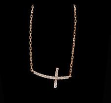 0.25Ct Stunning 14K Solid Rose Gold Diamond Cross Necklace