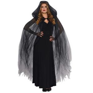 DARK TEMPTRESS CAPE BLACK NETTED HALLOWEEN LADIES WITCH VAMPIRE FANCY DRESS