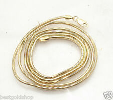 1.6mm Solid Round Snake Chain Necklace Real 14K Yellow Gold ALL LENGTHS