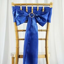 10 Royal Blue Satin CHAIR SASHES Ties Bows Wedding Party Reception Decorations