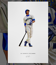 Ken Griffey Jr Rookie Seattle Mariners Illustrated Baseball Print Poster Art
