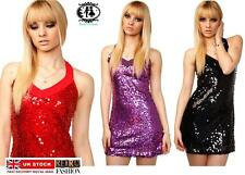 SEQUIN BEADED LADY BODYCON DRESS VTG PARTY EVENING TUNIC MINI TOP CLUB GOING OUT