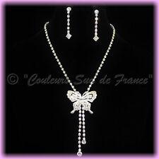 """Parure de Bijoux """"Myrtil"""" collier boucles d'oreilles mariage miss cristal clair"""