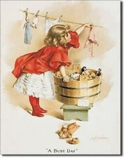 Vintage Replica Tin Metal Sign Girl washing her doll clothes ivory soap wash 95