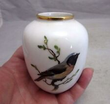 Vintage Rosenthal porcelain bud vase with robin bird. HAND PAINTED