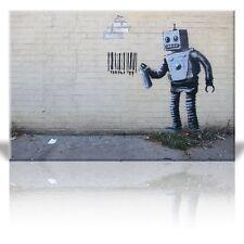 Wall26 - Canvas Print Wall Art - Robot Spray Paint Barcode - Street Art -16 x 24