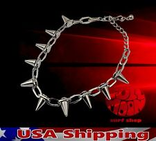 New Spike Rivet Punk Rock Biker Link Chain Choker Necklace