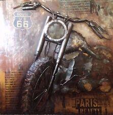 Cuadro metal 3D Route 66 Harley Arte Arte Decoración Diseñador hecho a mano