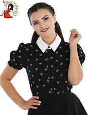 Hell Bunny Ribcage Blouse Black Shirt Heart Alternative Top Halloween