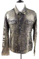 Jordan Craig NWT Black Metallic Shadow Wash Ripped Denim Trucker Jacket Mens 2XL