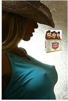 Lonestar Beer Cowgirl In Blue Top Refrigerator / Tool Box Magnet