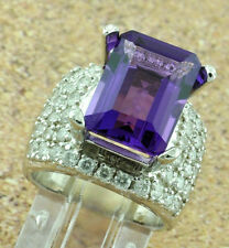 14k Solid White Gold Cocktail 8.18 ct Amethyst Natural Diamond Ring 12.90 grams
