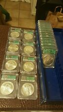 1986-2005 SILVER EAGLE SET  MS-69 green label & very rare 20 coins total